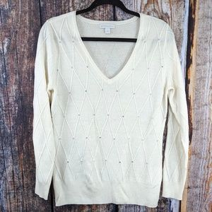 New York & Co Ivory Crystal Studded Sweater M
